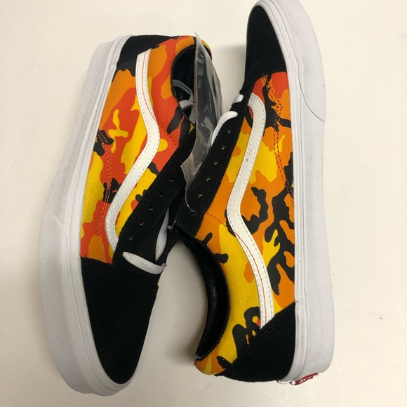 Vans Pop Camo Black Spicy Orange Suede Leather